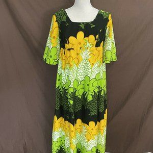 Vtg Barkcloth Sears Hawaiian Maxi Dress Pineapple